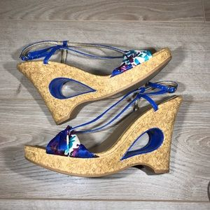 Qupid Blue Keyhole Strappy Wedges